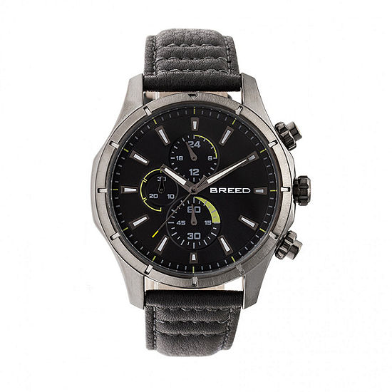 Breed Unisex Adult Gray Leather Strap Watch-Brd6806