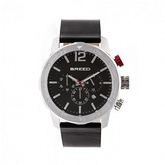 Breed Unisex Adult Black Leather Strap Watch-Brd7202