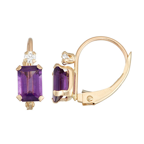 Genuine Purple Amethyst 10K Gold Rectangular Drop Earrings