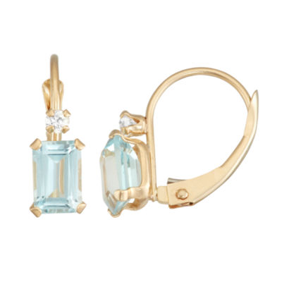 Blue Aquamarine 10K Gold Rectangular Drop Earrings