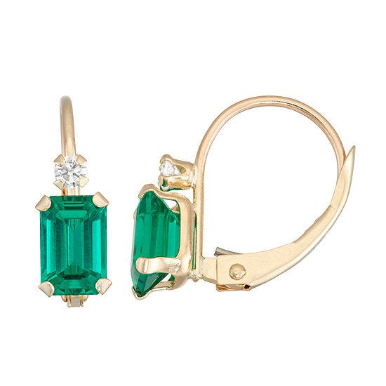 Lab Created Green Emerald 10K Gold Rectangular Drop Earrings