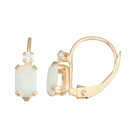 Lab Created White Opal 10K Gold Rectangular Drop Earrings