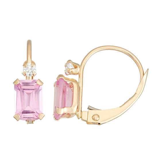 Lab Created Pink Sapphire 10K Gold Rectangular Drop Earrings