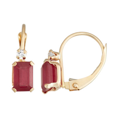 Lab Created Red Ruby 10K Gold Rectangular Drop Earrings