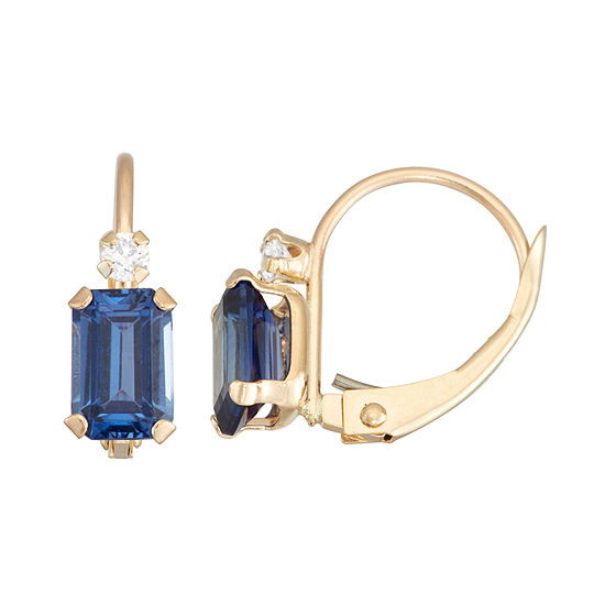 Lab Created Blue Sapphire 10K Gold Rectangular Drop Earrings