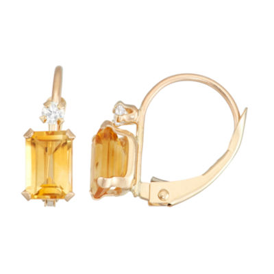 Yellow Citrine 10K Gold Rectangular Drop Earrings