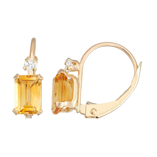 Genuine Yellow Citrine 10K Gold Rectangular Drop Earrings