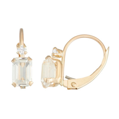 White Sapphire 10K Gold Rectangular Drop Earrings