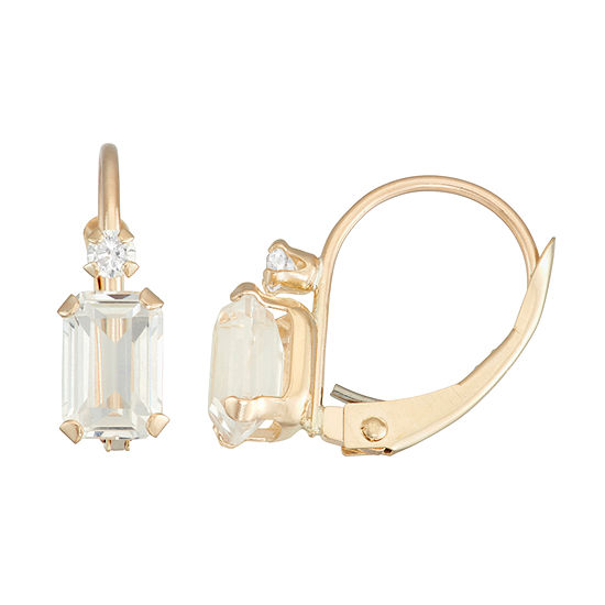 Lab Created White Sapphire 10K Gold Rectangular Drop Earrings