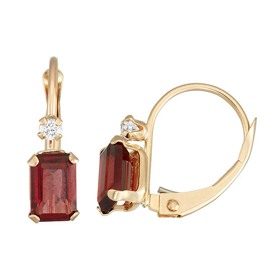 Genuine Red Garnet 10K Gold Rectangular Drop Earrings