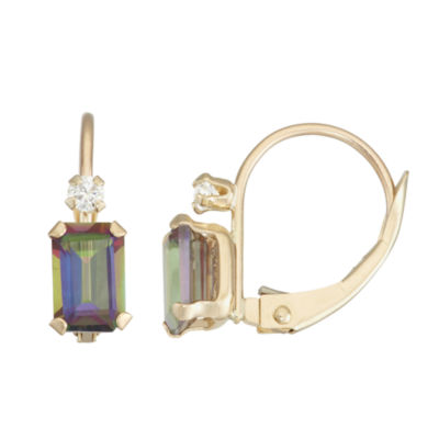 Green Topaz 10K Gold Rectangular Drop Earrings