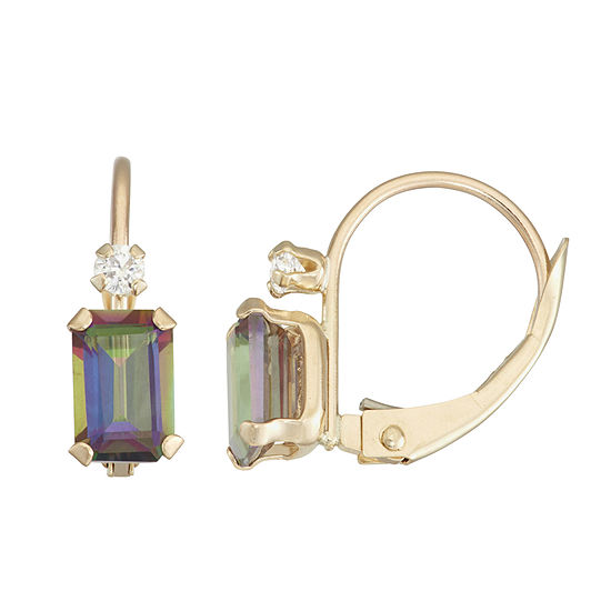 Genuine Green Topaz 10K Gold Rectangular Drop Earrings