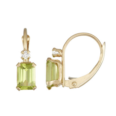 Green Peridot 10K Gold Rectangular Drop Earrings