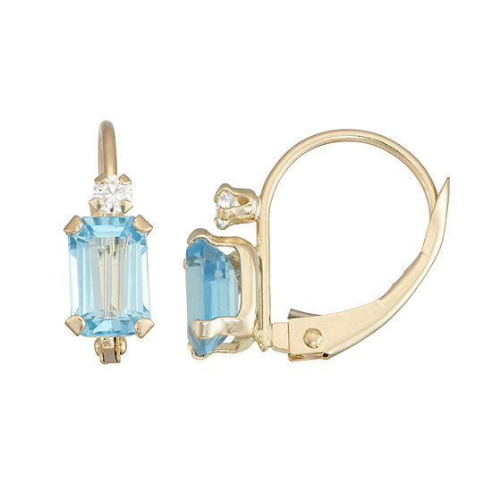 Genuine Blue Topaz 10K Gold Rectangular Drop Earrings