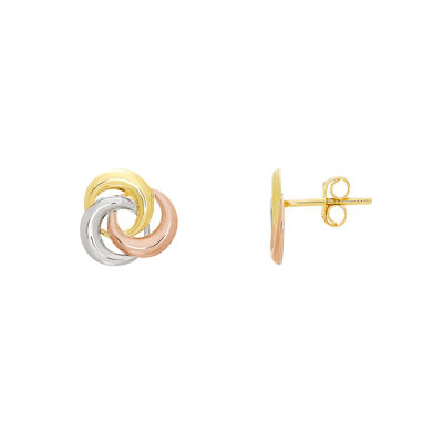 14K Tri-Color Gold 10.4mm Knot Stud Earrings