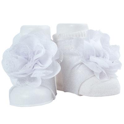 Okie Dokie White Peep Toe Sock Booties - Baby Girl NB-24M