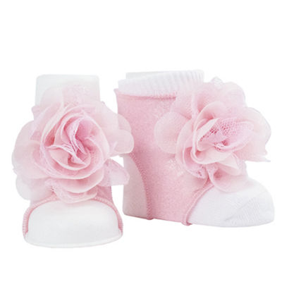 Okie Dokie Pink Peep Toe Sock Booties - Baby Girl NB-24M