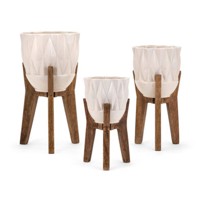 IMAX Worldwide Home Amara Vases on Wood Stands - Set of 3