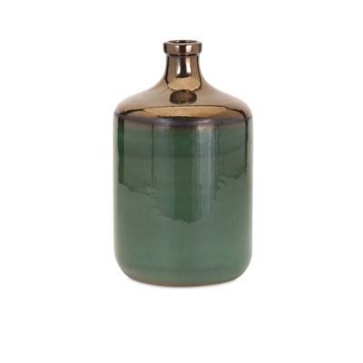 IMAX Worldwide Home Melenia Green and Bronze Vase