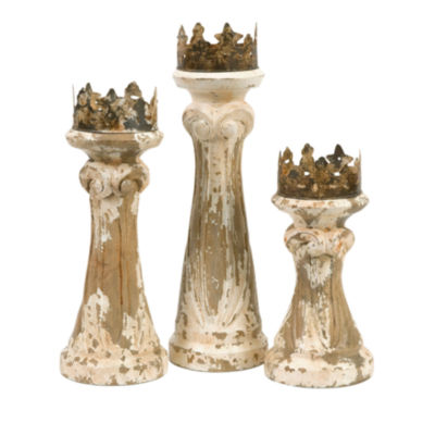 IMAX Worldwide Home Feliciano Hand Carved Wood Candleholders - Set of 3