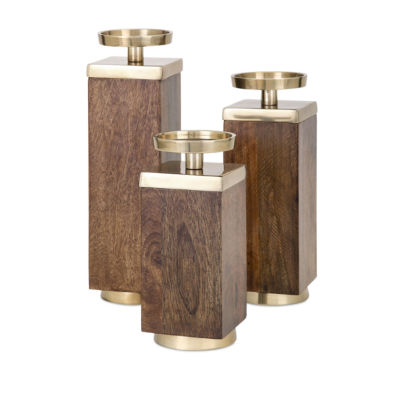 IMAX Worldwide Home Concepts Eden Wood Candleholders - Set of 3