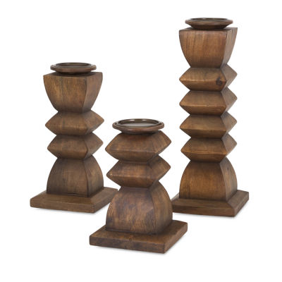 IMAX Worldwide Home Desta Wood Candleholders - Setof 3