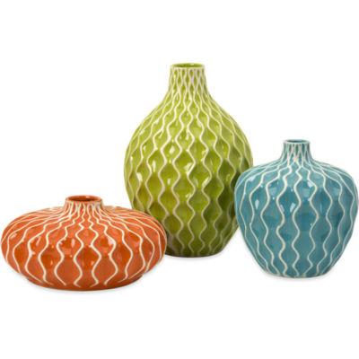 IMAX Worldwide Home Agatha Ceramic Vases - Set of3