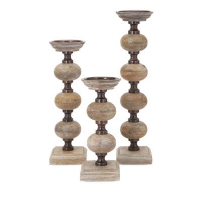 IMAX Worldwide Home Nahla Wood Candleholders - Setof 3