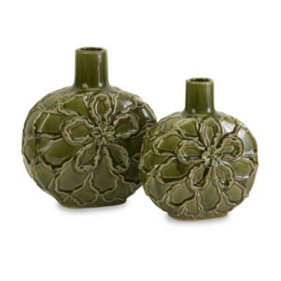 IMAX Worldwide Home Poslie Dimensional Ceramic Flower Vases - Set of 2
