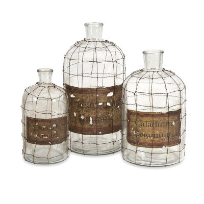 IMAX Worldwide Home Dimora Wire Caged Bottles - Set of 3
