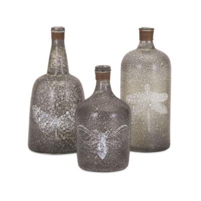 IMAX Worldwide Home Folly Glass Bottles - Set of 3