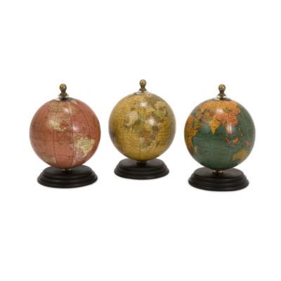 IMAX Worldwide Home Antique Finish Mini Globes onWood Base - Set of 3
