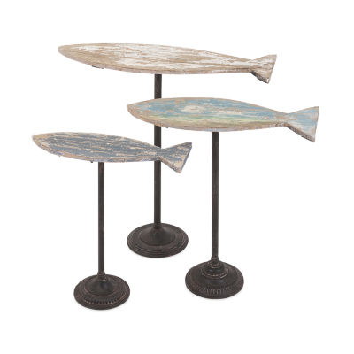 IMAX Worldwide Home Zaney Fish on Stand - Set of 3