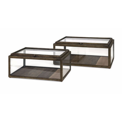 IMAX Worldwide Home Winthorp Glass and Wood Boxes- Set of 2