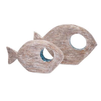 IMAX Worldwide Home Akua Wood and Mosaic Fish - Set of 2