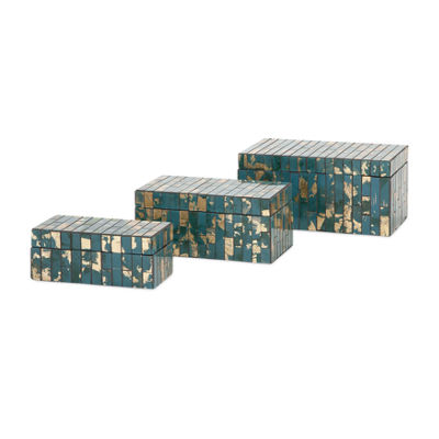 IMAX Worldwide Home Glacier Mosaic Boxes - Set of3