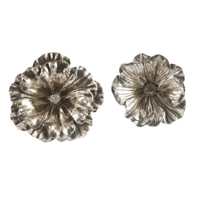 IMAX Worldwide Home Natalia Stick Silver Flowers -Set of 2