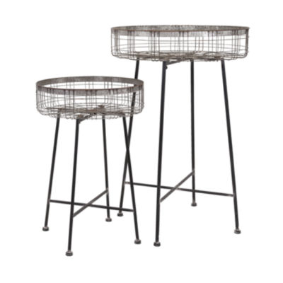 IMAX Worldwide Home Pitzer Round Wire Plant Stands- Set of 2