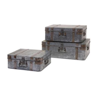 IMAX Worldwide Home Teri Galvanized Suitcases - Set of 3