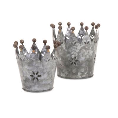 IMAX Worldwide Home Maddy Galvanized Crowns - Setof 2