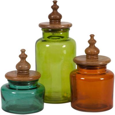 IMAX Worldwide Home Saburo Glass and Wood Lid Canisters - Set of 3
