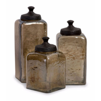 IMAX Worldwide Home Square Brown Luster Canisters- Set of 3