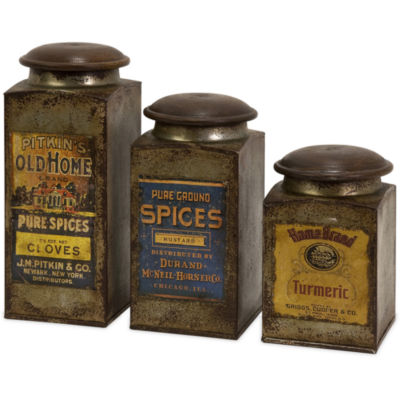 IMAX Worldwide Home Addie Vintage Label Wood and Metal Canisters - Set of 3