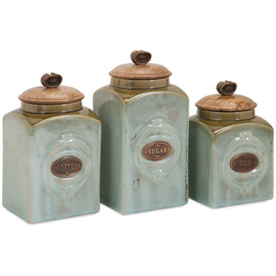 IMAX Worldwide Home Addison Ceramic Canisters - Set of 3
