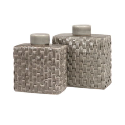 IMAX Worldwide Home Sophie Woven Ceramic Canisters- Set of 2