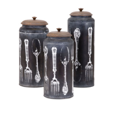 IMAX Worldwide Home Vintage Flatware Lidded Canisters - Set of 3