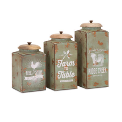 IMAX Worldwide Home Farmhouse Lidded Canisters - Set of 3