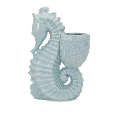 IMAX Worldwide Home Seahorse Ceramic Planter