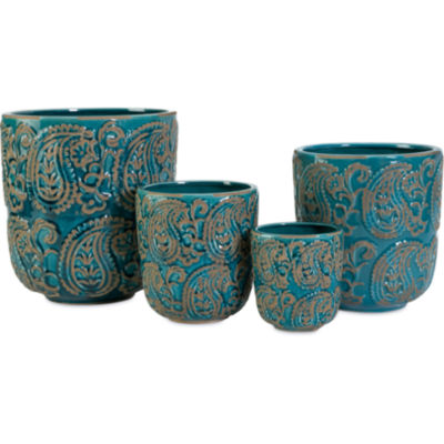 IMAX Worldwide Home Paisley Blue Planters - Set of4
