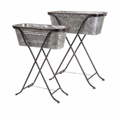 IMAX Worldwide Home Blaklin Galvanized Planters onStand - Set of 2